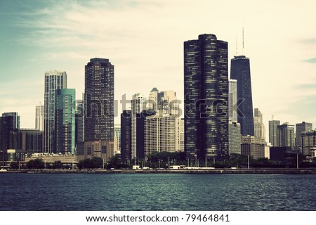 Chicago seen from Lake Michigan. Vintage style photo.