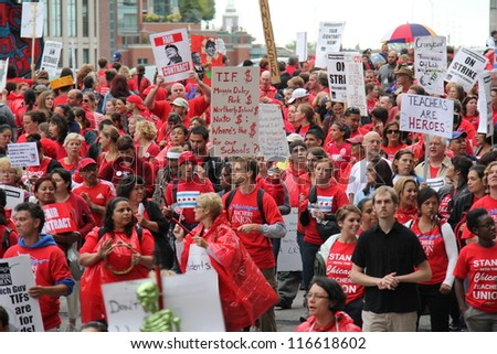 CHICAGO - SEP 13 2012: Teachers on strike and protesting in downtown Chicago, September 13, 2012.