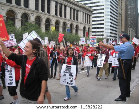 CHICAGO - SEPT 13 2012: Teachers on strike and protesting in downtown Chicago, September 13, 2012.