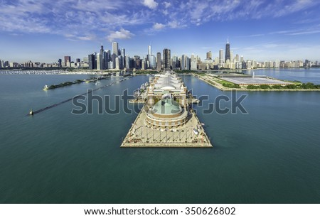 Chicago Skyline aerial view of Navy Pier #350626802