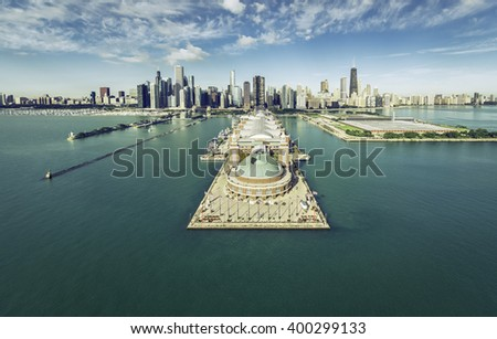 Chicago Skyline aerial view with Navy Pier, vintage colors #400299133