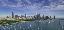 Chicago Skyline aerial view with park and marina with boats