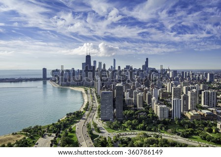 Stock Photo Chicago Skyline aerial view with road by the beach