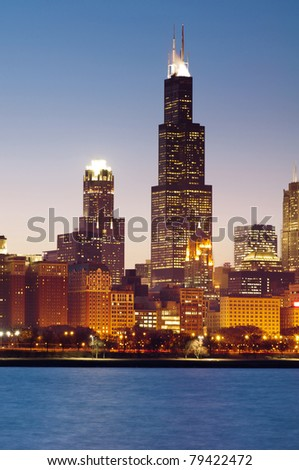 Chicago skyline after sunset. - stock photo