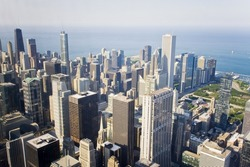 Chicago skyline. An overhead view of the great city of Chicago taken from the Willis (Sears) Tower. Horizontal composition.