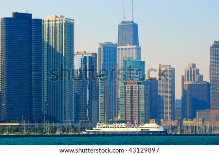 Chicago skyline and marina seen from the lake