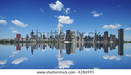 Chicago skyline and reflection #4286995
