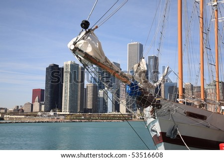 Chicago Skyline and Tall Ship
