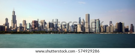 Chicago skyline as viewed from Solidarity Drive. #574929286