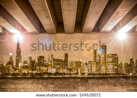 Chicago skyline as wall drawing on the support column of an overpass