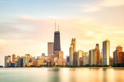 Chicago Skyline at Golden Sunset, Illinois, USA