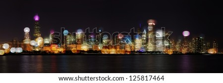 Chicago Skyline At Night- Skyline With Blurred Photo Bokeh Composited On Top