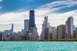 Chicago skyline at sunny summer day, Chicago, Illinois, USA.