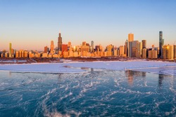 Chicago Skyline at Sunrise During Polar Vortex