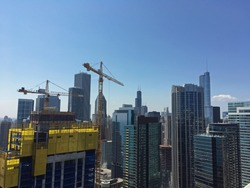 Chicago skyline building with construction