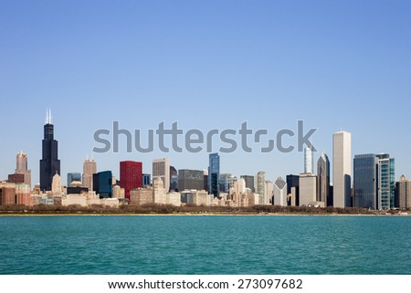 Chicago Skyline - captured on a sunny spring morning showcasing the city\'s skyscrapers and varied architectural styles.  Room for your copy in the clear blue sky if needed.
