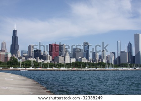 Chicago skyline from pier along Lake Michigan