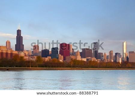 Chicago Skyline. Image of famous Chicago skyline at autumn sunrise.