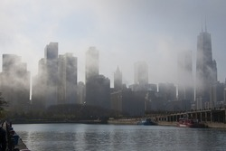 Chicago skyline in daytime fog, from Navy Pier