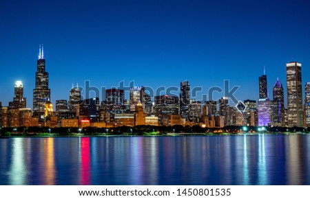 Chicago skyline in the evening - travel photography #1450801535