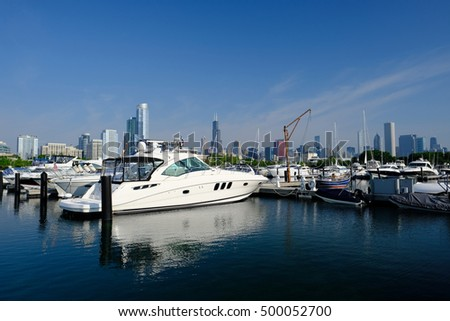 Chicago skyline in the morning with urban marina in front #500052700