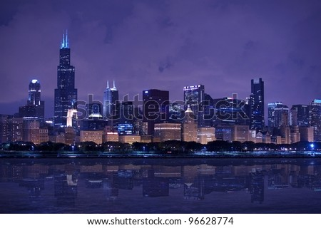 Chicago Skyline Panorama - Chicago Skyline East Side - Lake Front. Horizontal After Dark Photography