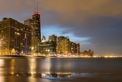 Chicago skyline seen from North Avenue beach at dusk