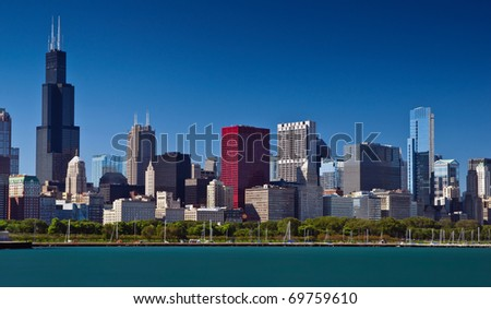 Chicago skyline summer panorama