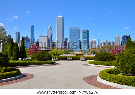 Chicago skyline - view from Grant park