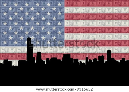 Chicago Skyline with American flag and ten dollars bills