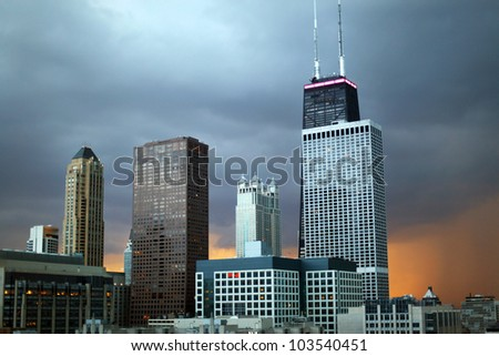 Chicago Skyline with John Hancock Building on a stormy day