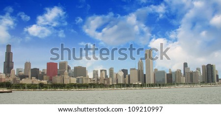 Chicago Skyline with Skyscrapers and Lake Michigan - View from Lakefront Trail - Illinois - USA