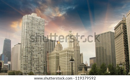 Chicago Skyline with Skyscrapers - Illinois