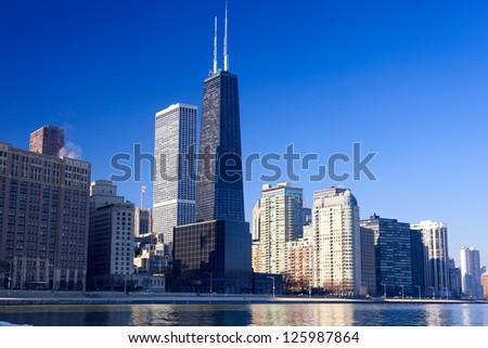 Chicago skyline with urban skyscrapers, IL, USA