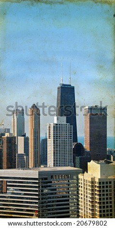 Chicago skyscrapers on a grunge background.