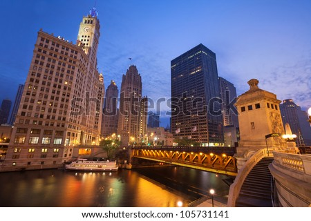Chicago Sunrise. Image of the Chicago riverside downtown district during sunrise.