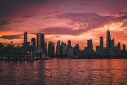 Chicago Sunset from Lake Michigan