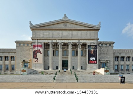 CHICAGO, USA - MAY 10, 2011: South entrance of Field Museum of Natural History. Field Museum is one of the largest natural history museums in the world.