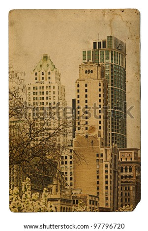 Chicago view in vintage style - stock photo