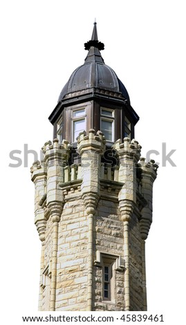 Chicago Water Tower Isolated on White Background with Clipping Path