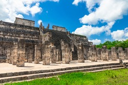 Chichen Itza, Columns in the Temple of a Thousand Warriors, Mexico.