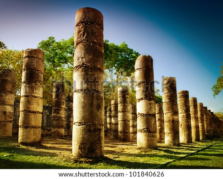 Chichen Itza, Columns in the Temple of a Thousand Warriors, Mexico