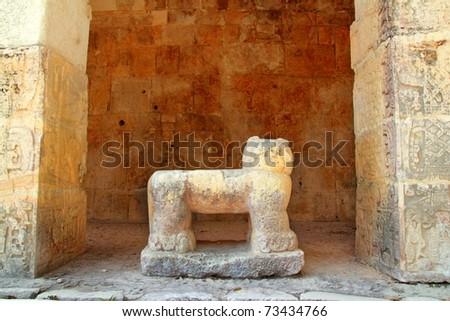 Chichen Itza Jaguar throne Mayan temple figure Mexico Yucatan
