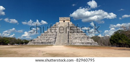 Chichen Itza. Kukulkan pyramid El Castillo panoramic view. Mexico.