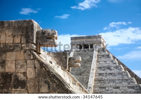 Chichen Itza, Mexico, one of the New Seven Wonders of the World, view from the Venus platform