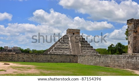 Chichen Itza Pyramid, Wonder of the World, Mexico, yucatan, temple complex - stock photo