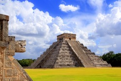 Chichen Itza snake and Kukulkan Mayan temple pyramid Mexico Yucatan [Photo Illustration]