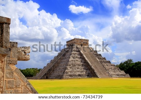 Chichen Itza snake and Kukulkan Mayan temple pyramid Mexico Yucatan [Photo Illustration]