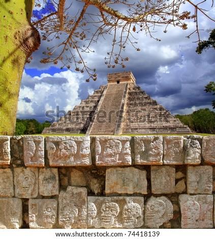 Chichen Itza Tzompantli the Wall of Skulls and Kukulkan pyramid El Castillo [Photo Illustration]