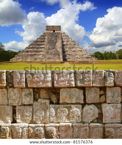 Chichen Itza Tzompantli the Wall of Skulls and Kukulkan pyramid El Castillo [Photo Illustration]